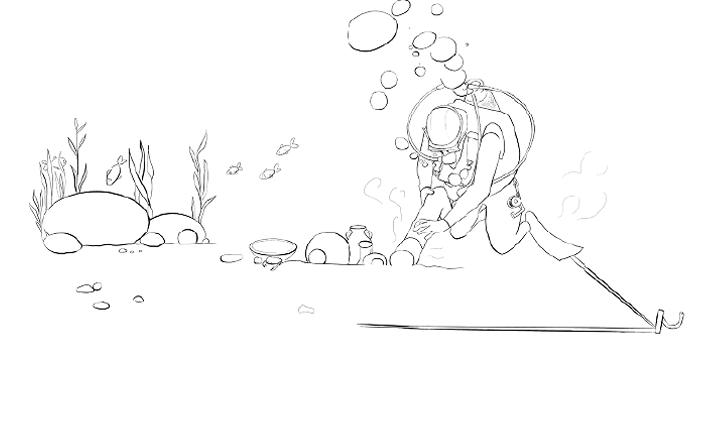 Jeux des septs erreurs archéologue sous-marin avant