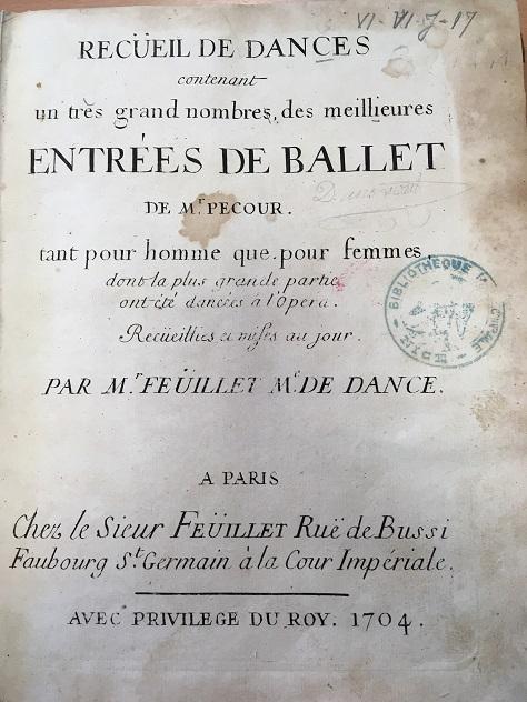 Ouvrage singulier de danses gravées paru en 1704