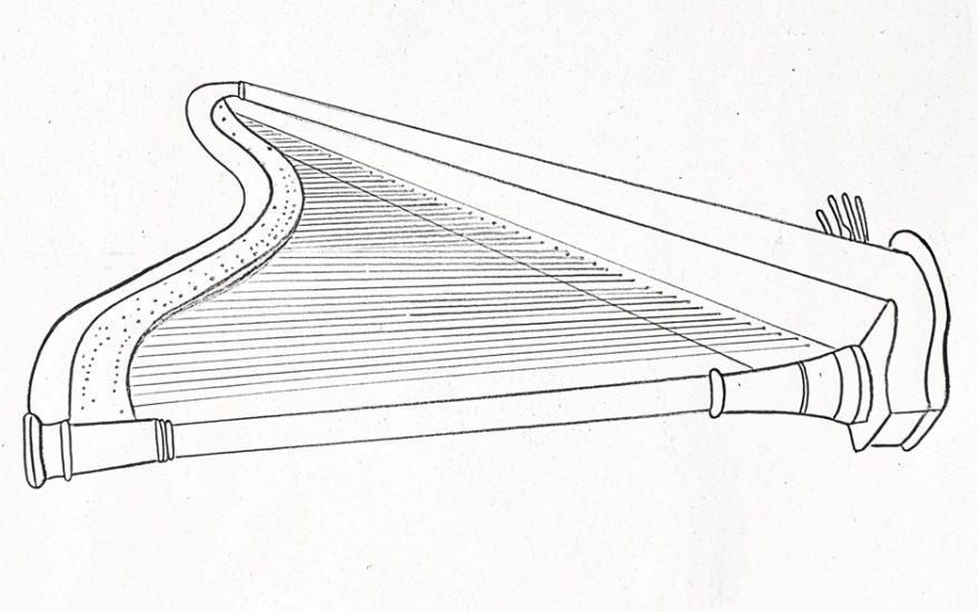 Imagine le décor d'une harpe